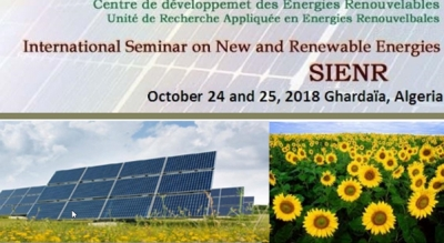 International seminar on new and renouvelable energies, Ghardaïa, October, 24-25, 2018
