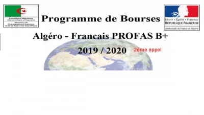 RESIDENTIAL TRAINING ABROAD PROGRAM ALGERIAN FRENCH PROGRAM PROFAS B + 2019-2020